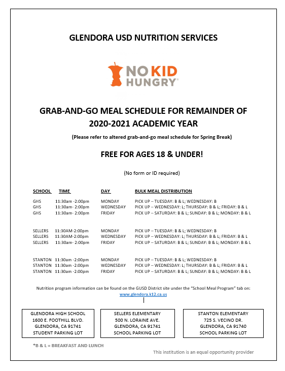 2020-2021 academic year grab-and-go schedule