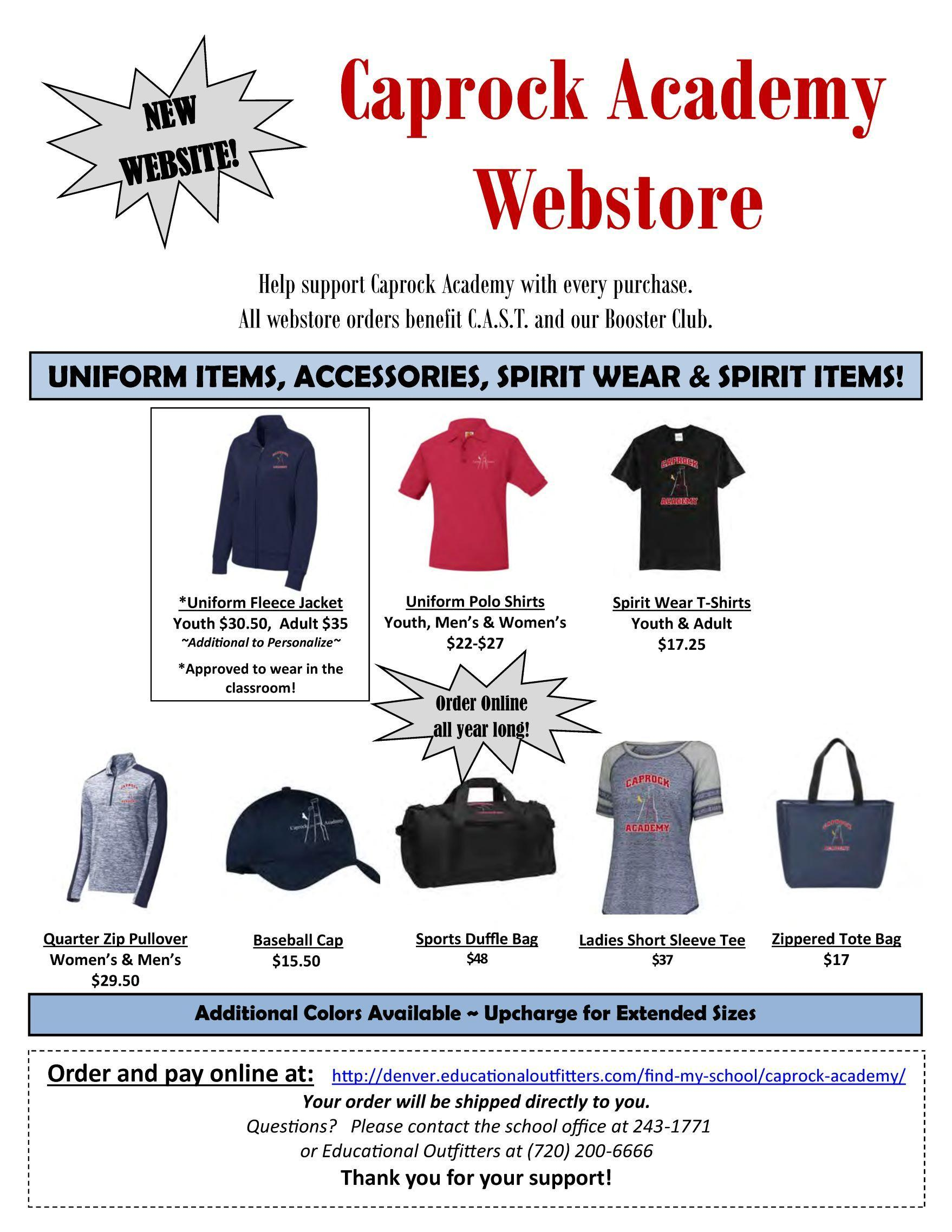 Webstore for Spirit Wear and More