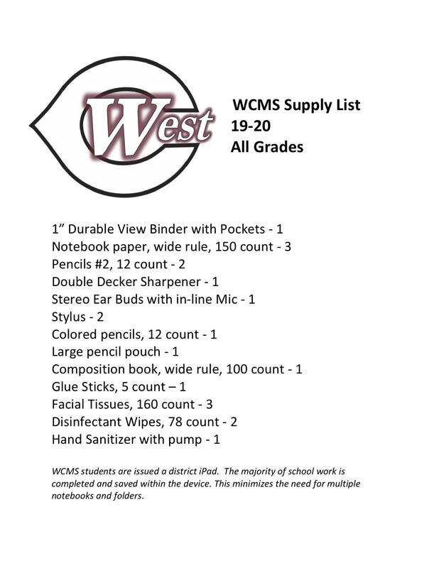 2019-20 WCMS Supply List! Featured Photo
