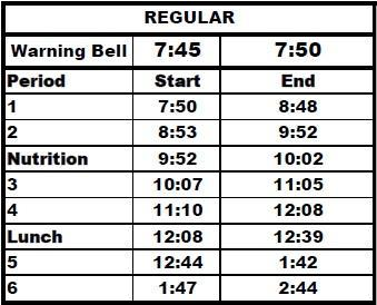2019-2020 KVHS Bell Schedule Thumbnail Image