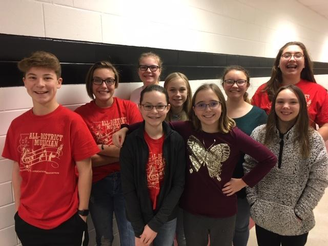 2018 ILMEA Junior High Honor Band and Choir Members
