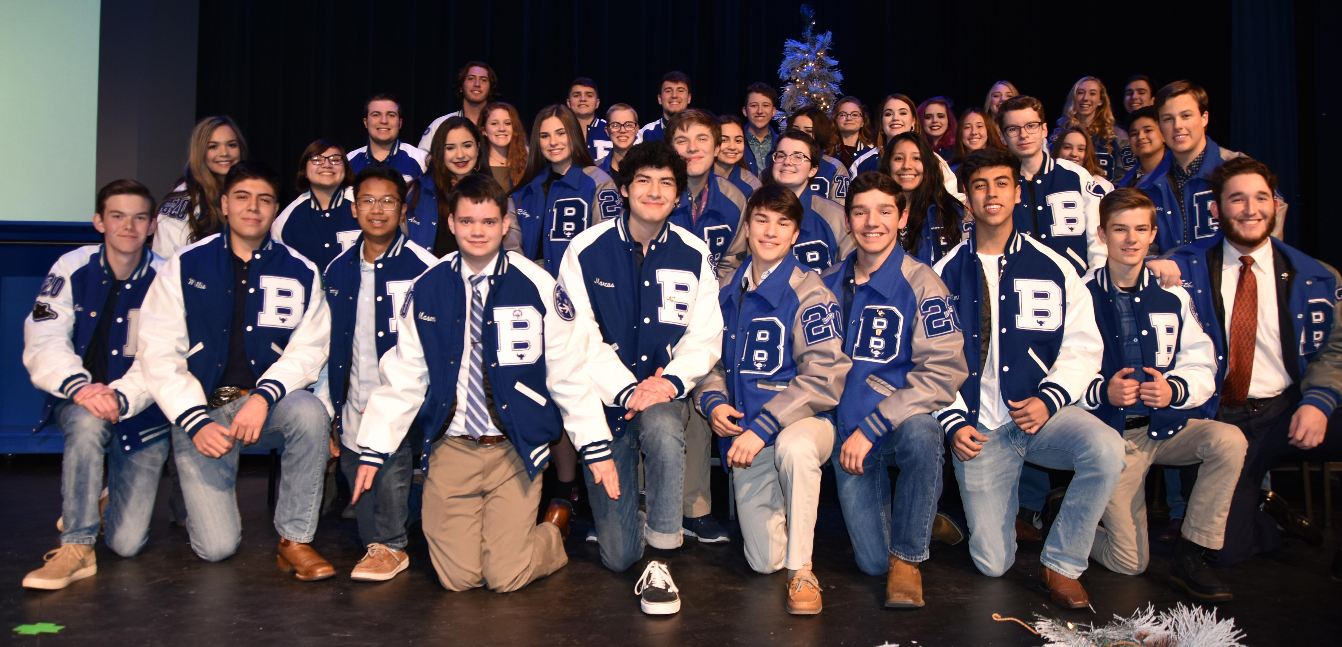 Brewer High School honored 10th through 12th graders who achieved a top 10 percent ranking for the 2017-18 school year during the Academic Letter Jacket Ceremony on Dec. 10. - Juniors