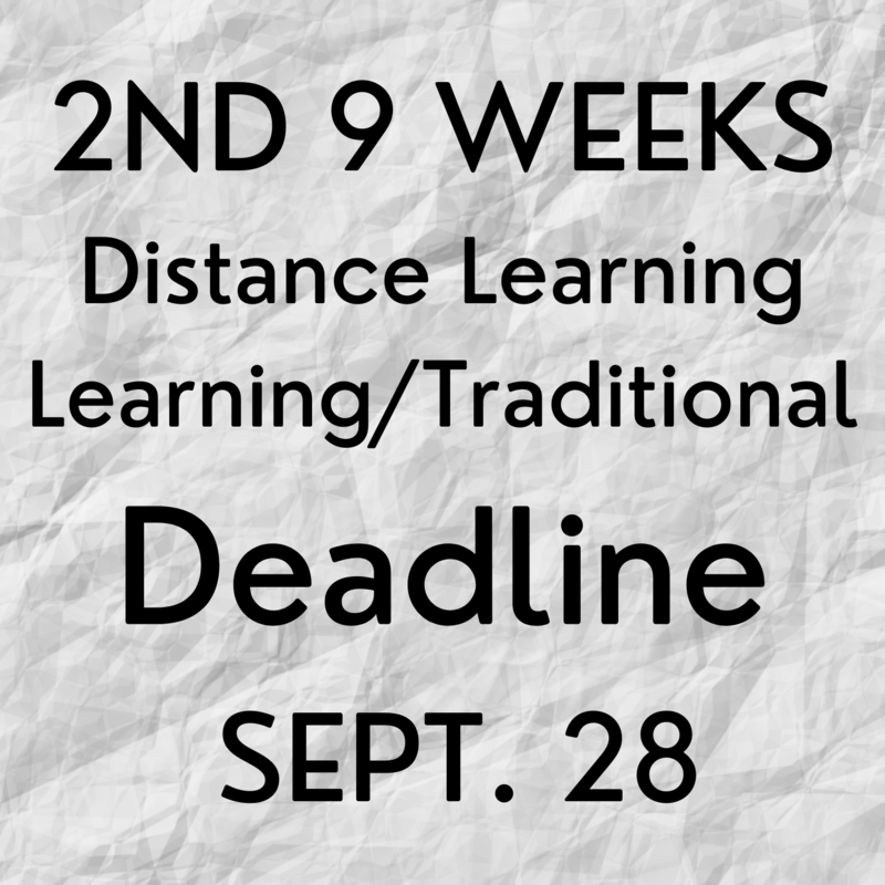 2nd Nine Weeks-Distance Learning Options DEADLINE SEPT. 28 Thumbnail Image
