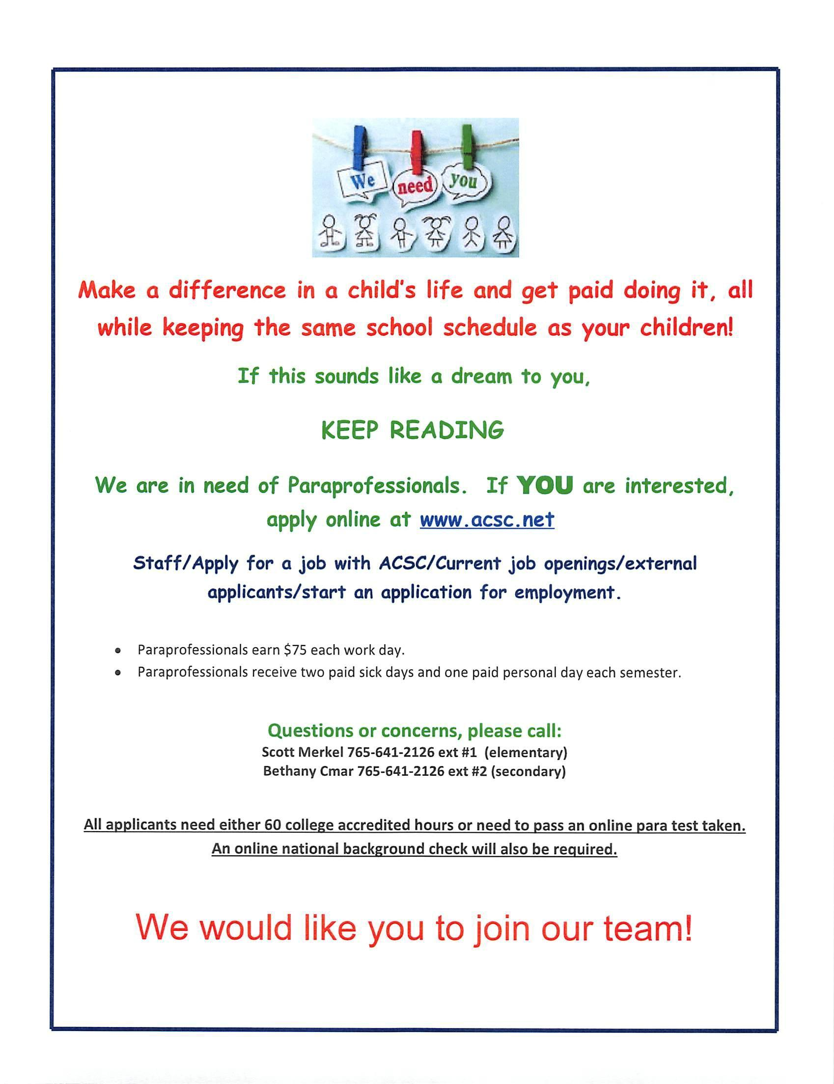 Poster advertising to hire paraeducators