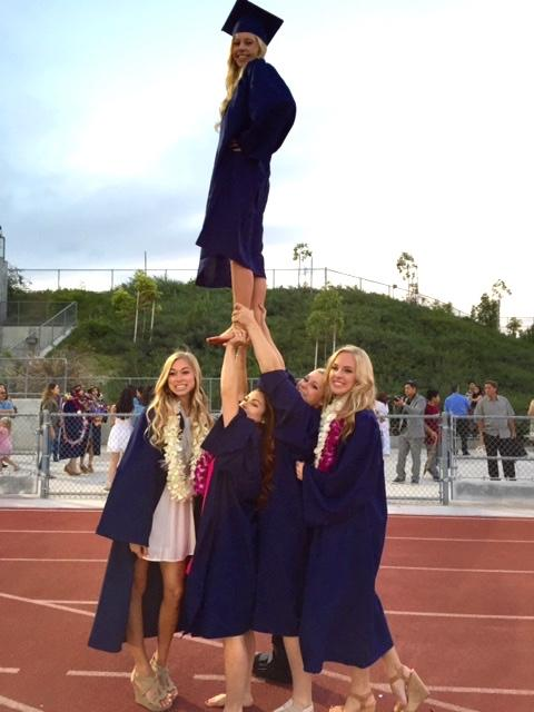 A pyramid of students at graduation