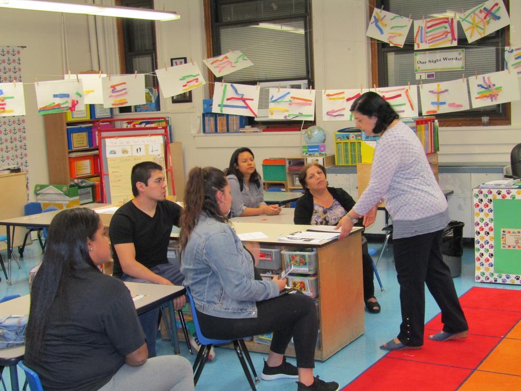 Mrs. Michael explaining the class procedures