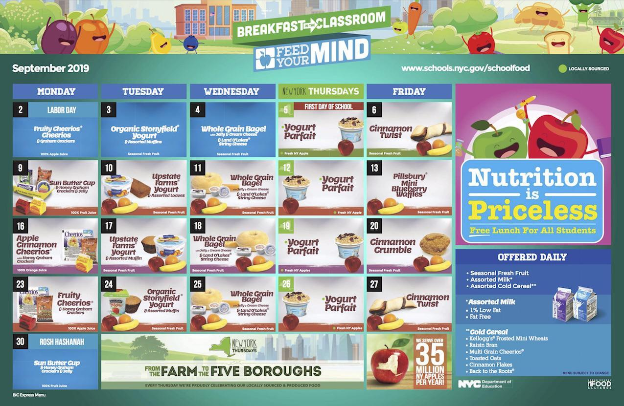 School food menu sample
