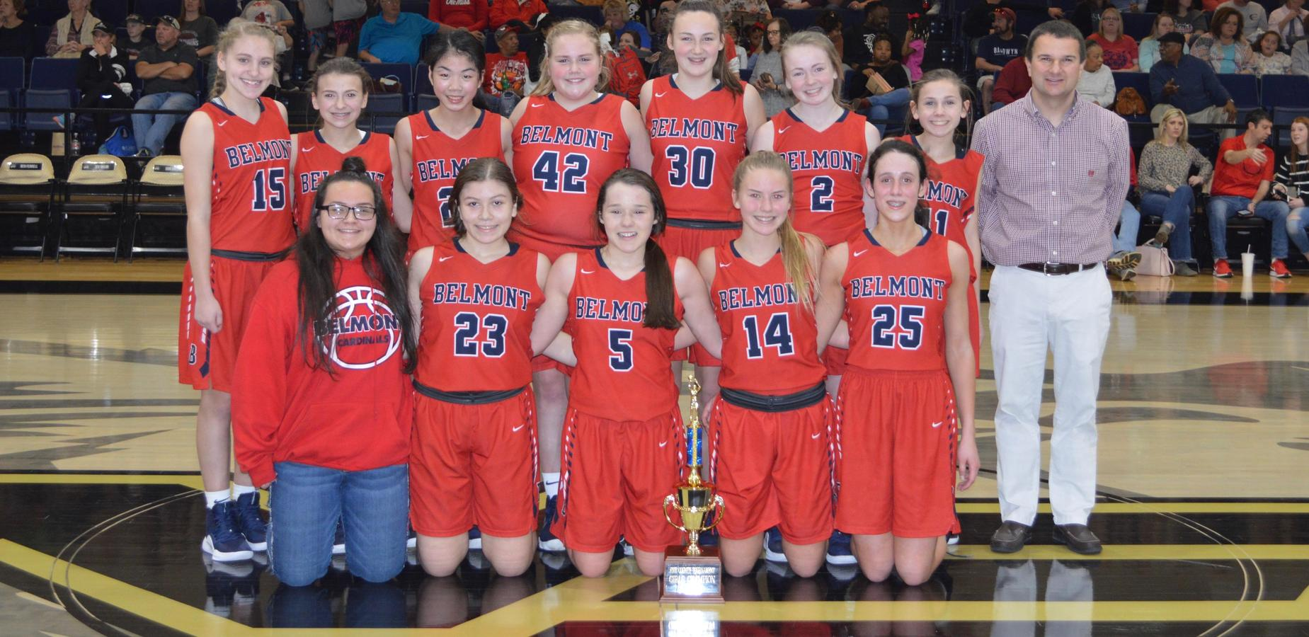 Belmont's Junior High Basketball Team wins the 5-County Tournament