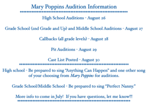 Mary Poppins Auditions Schedule