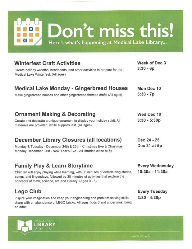 Winter Schedule Medical Lake Library