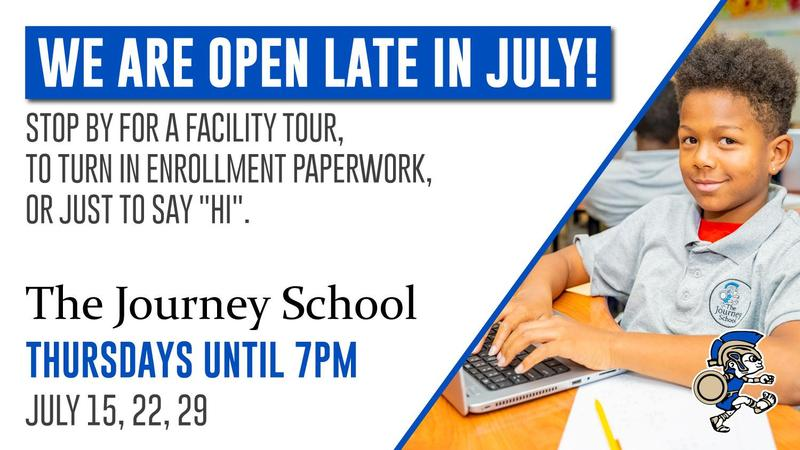flyer for extended office hours in July with student smiling at the camera while at their desk with their laptop.
