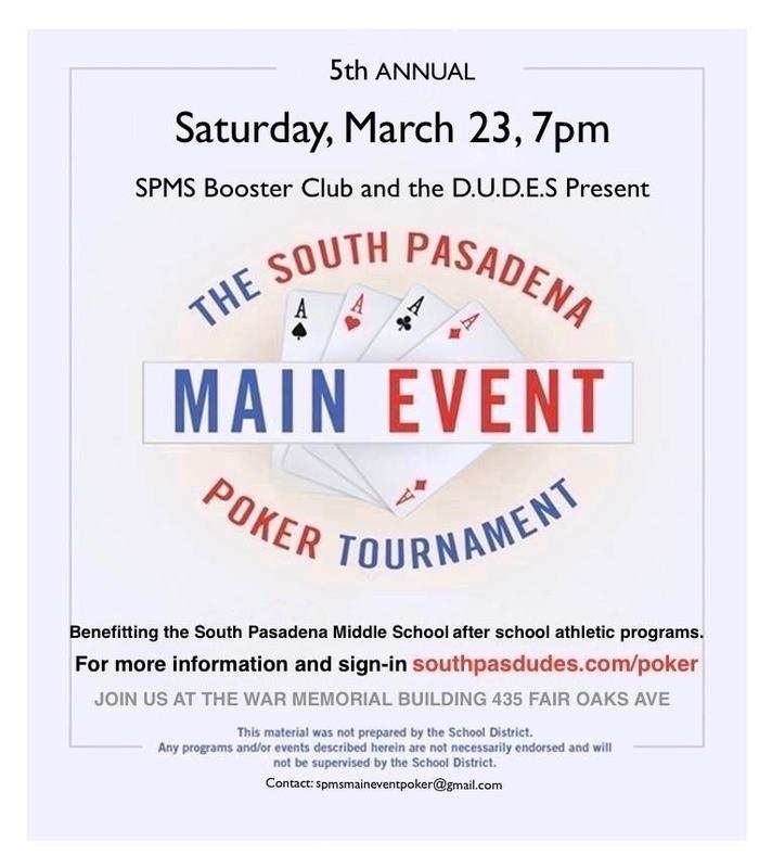 SPMS Booster Club & the D.U.D.E.S Present - The Annual South Pasadena Poker Tournament Featured Photo