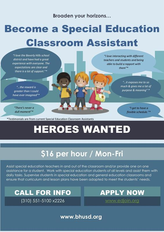 BHUSD Looking For Special Education Classroom Assistants - Apply Now! Thumbnail Image