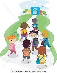 Image kids walking in school