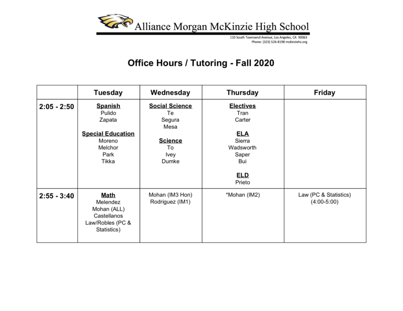 Fall 2020 Tutoring Schedule Thumbnail Image