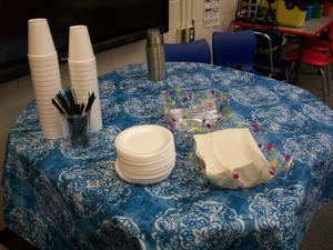 Counselor's Corner table set up for food.