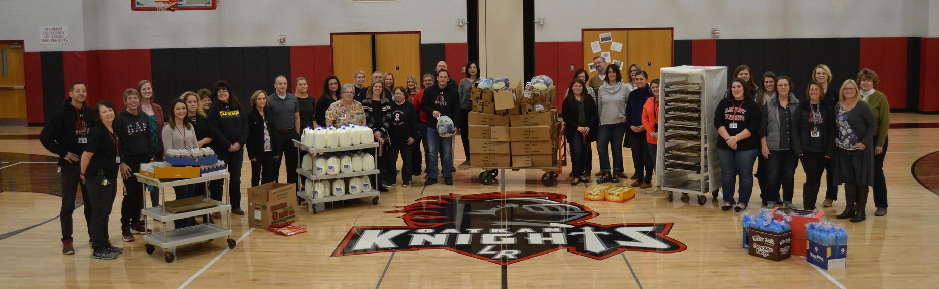 LCSD staff with Turkey Drive food