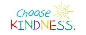 Rainbow colored letters reading choose kindess with a sun next to it.