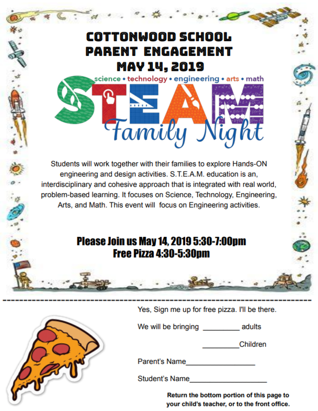 Family STEAM Night on May 14th from 5:30 - 7:00 p.m.
