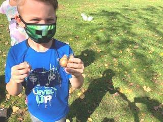 child planting a flower bulb