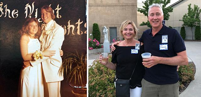 xRob and Sharon (Hart) Cavanagh `78 in high school and today.