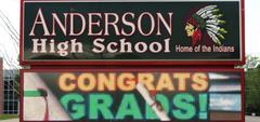 AHS outside electronic sign, 'Congrats Grads'