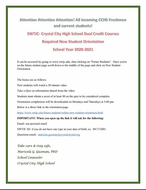 SWTJC  - Crystal City High School Dual Credit Courses Featured Photo