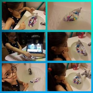 girl with glasses doing different activities collage
