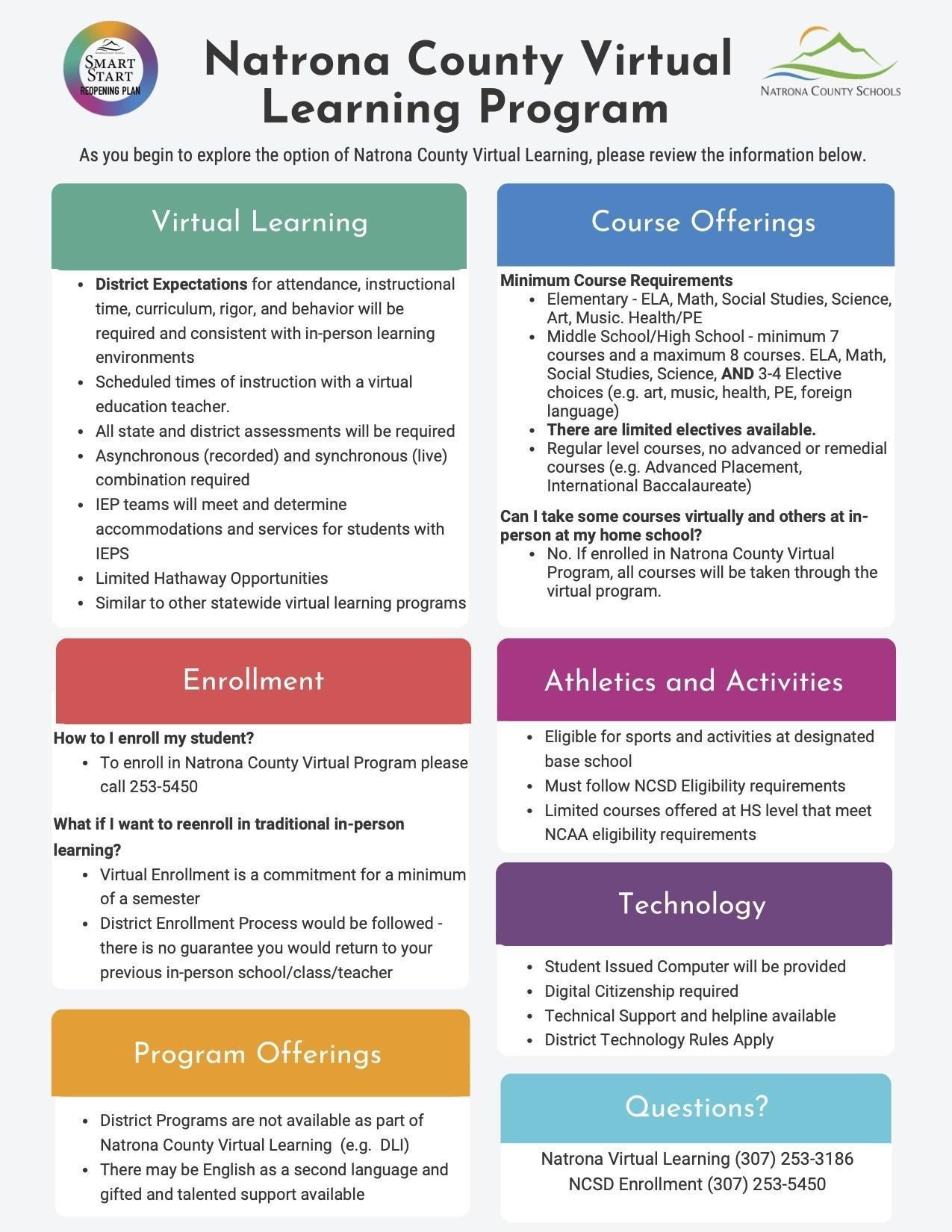 Natrona County Virtual Learning Program informational flyer