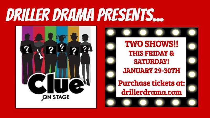Driller Drama presents CLUE!  January 29th & 30th on Zoom! Thumbnail Image