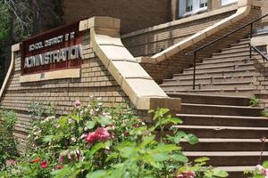 Front steps of the administration building in the spring