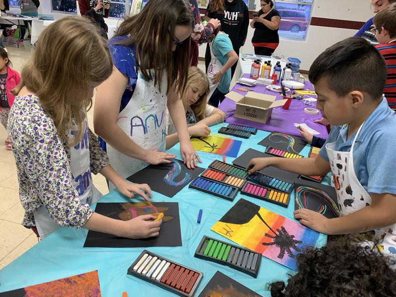Students engaging in the Big Art Day