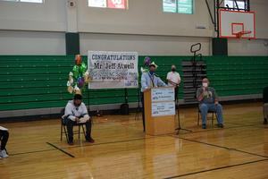 Mr. Graham speaks at Mr. Atwell's celebration ceremony