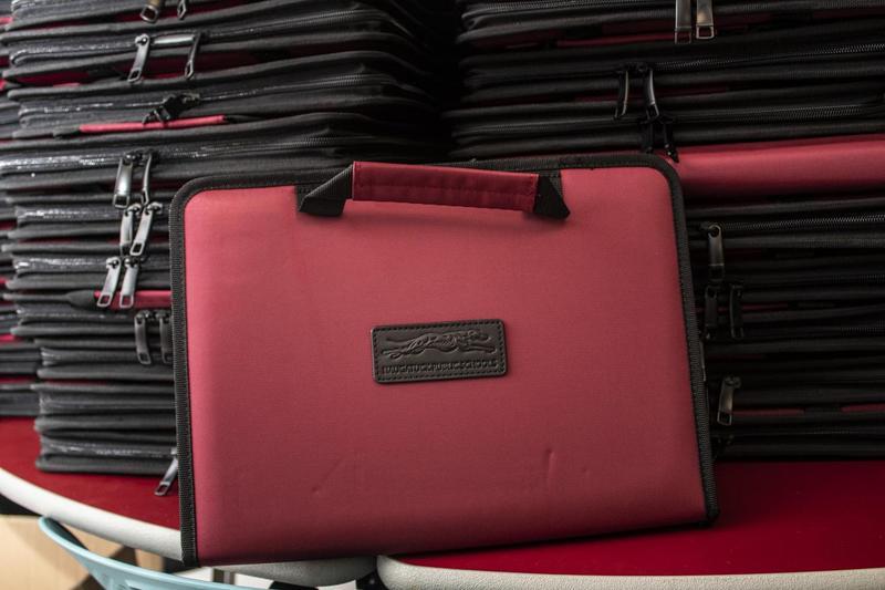 Stack of Chromebooks