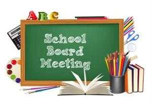 Graphic with words:  Board of Education Meeting