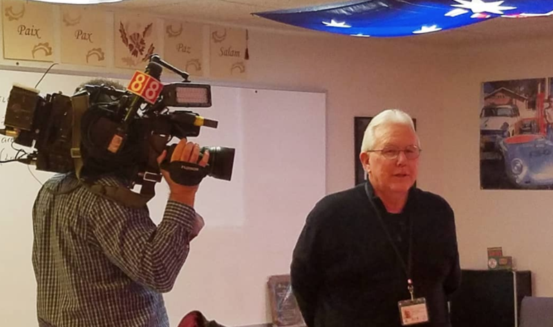 WTNH films teacher Jack Stacey in action
