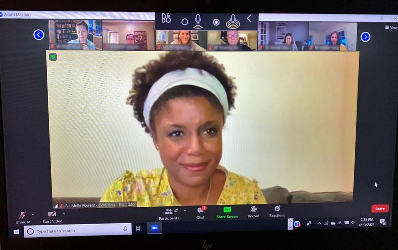 Melle Powers, who leads training sessions on diversity and inclusion, co-facilitated a special virtual gathering on April 13 about talking to your child about race.