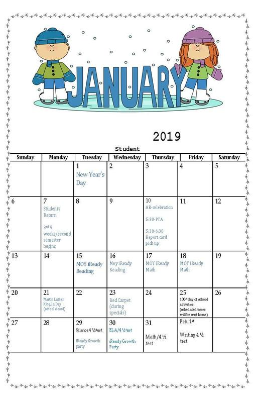 January 2019 student calendar of events