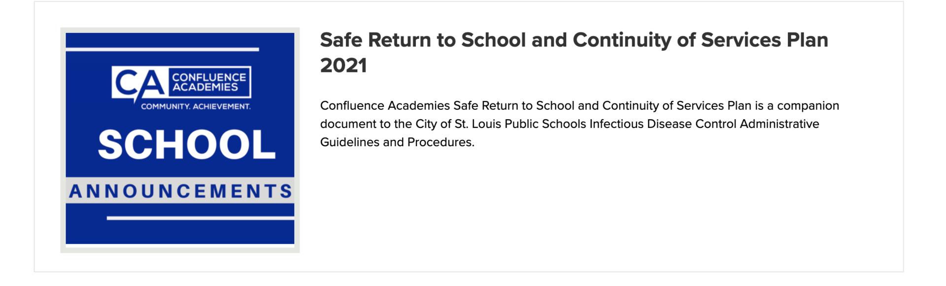 School Safety Procedures Confluence Academies