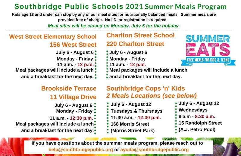 Summer meals 2021 information. All wording in this graphic is also in the body of the post.