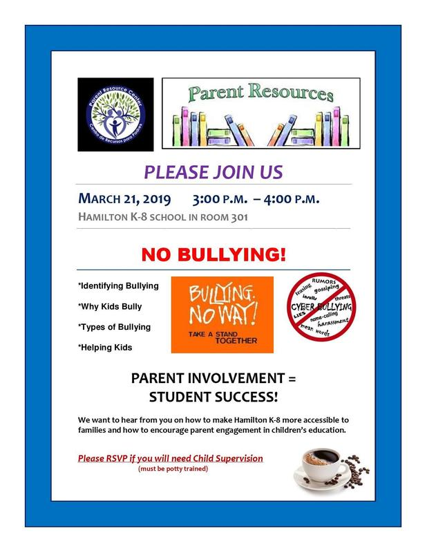 Please Join Us for a NO BULLYING! parent workshop