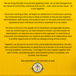 The Academy of Saint Elizabeth campus is closed effective immediately. We will move to our Continuous Learning Model beginning on Monday, March 16. The health and safety of our students, staff, families and community (2).png