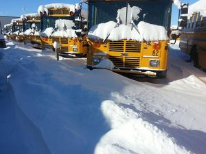 snow with bus