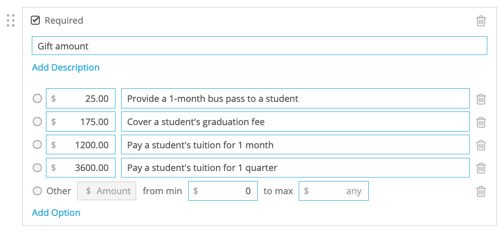 multiple choice payment field example