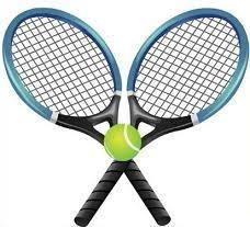 two tennis rackets and one tennis ball
