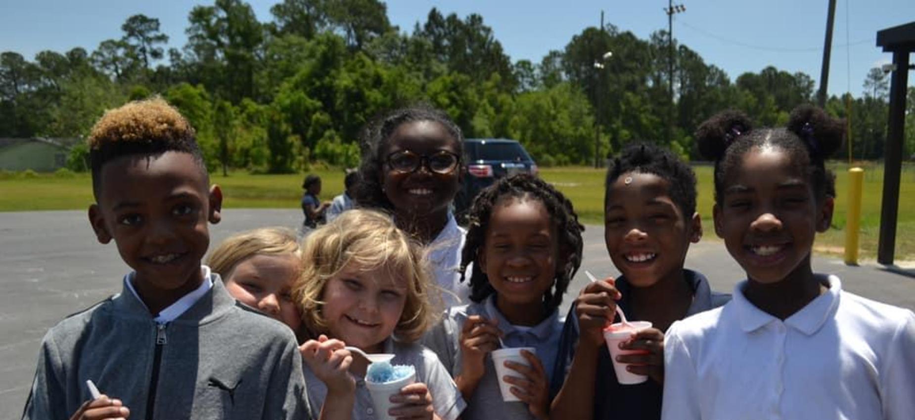 students enjoying a treat