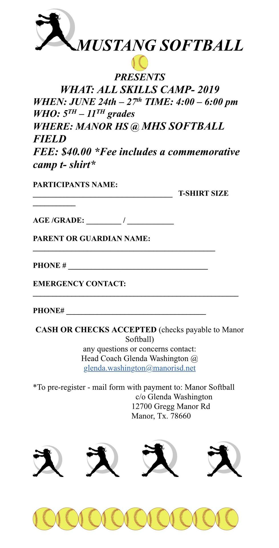 Softball camp flyer with yellow softballs and an athlete catching a softball