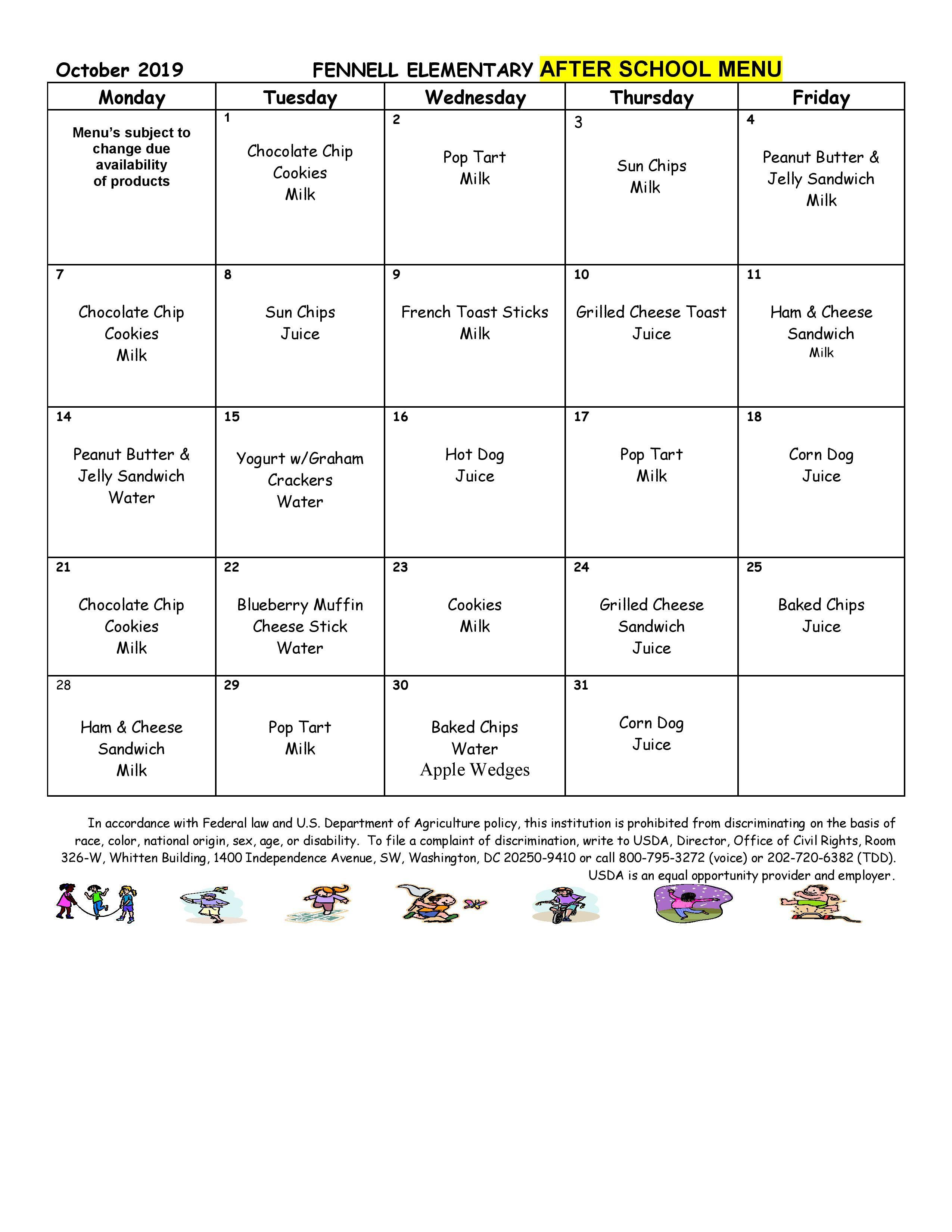 October 2019 After school Snack Menu