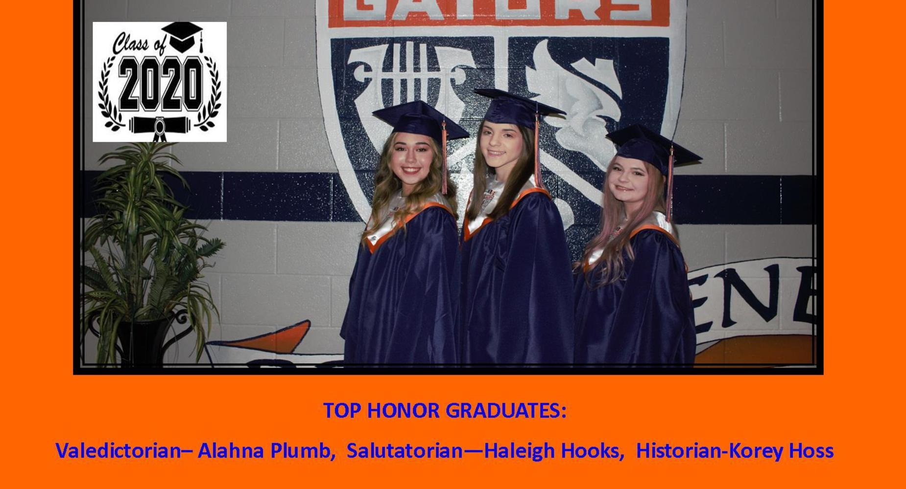 Top Honor Graduates 2020 - Alahna Plumb, Haleigh Hooks and Korey Hoss