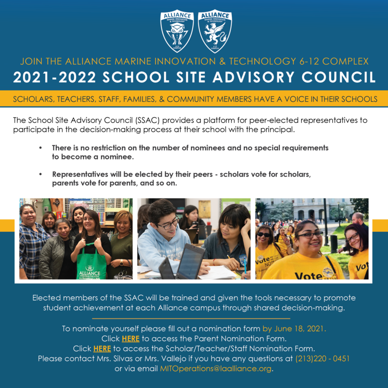 Join the 2021 - 2022 School Site Advisory Council (SSAC) Thumbnail Image
